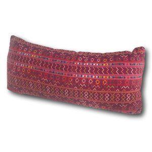 Large Red Hmong Ethnic Boho Lumbar Bolster Pillow